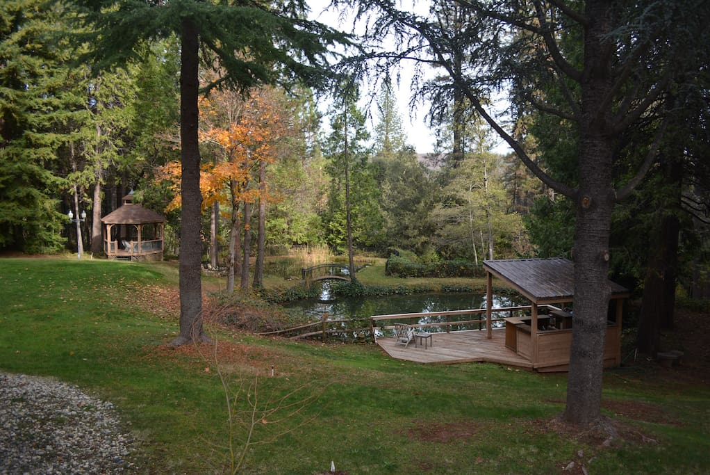 The ponds, gazebo and deck