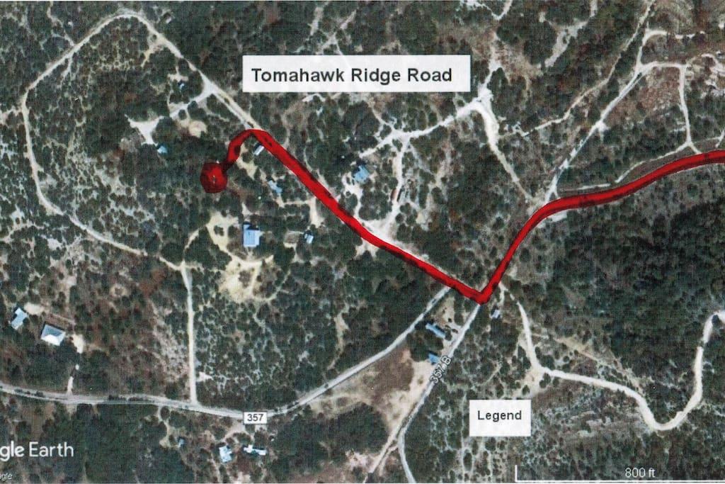 Tomahawk Ridge Rd to StarLight Cabin from CR 357
