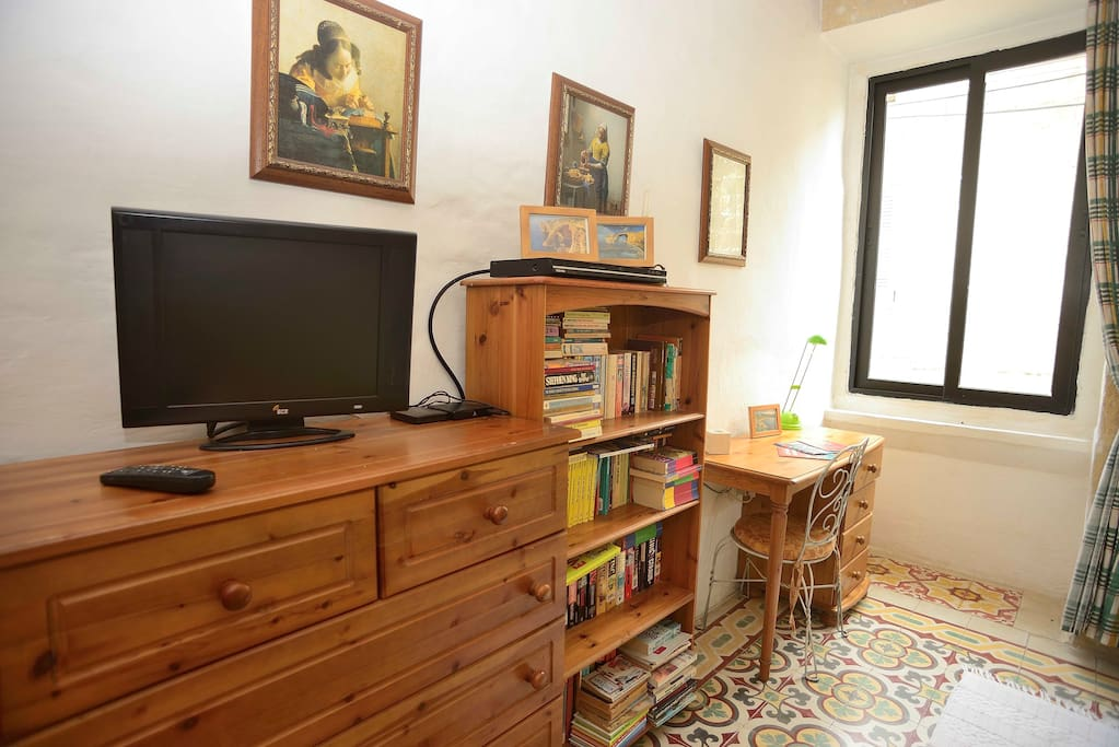 TV, with DVD player and 100 DVDs plus a media player with TV series etc. and small library in the bedroom.