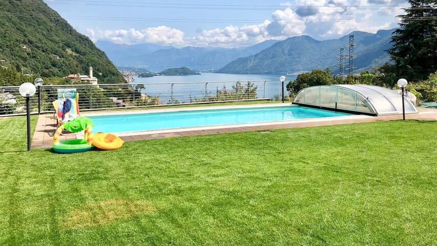 Top Como Lake apartment with swimming pool apt B