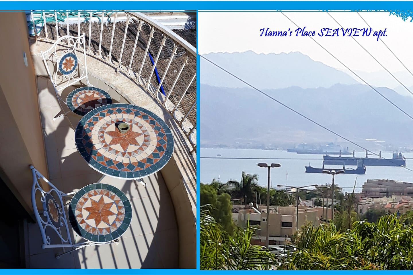 """Hanna's Place-Great Location- """"Seaview""""  A comfortable One Bedroom Apartment + Balcony-  Centrally located near all, with a Supermarket, mini-Market, Ice-Cream Parlor, Falafel, Pizza, Dairy coffee shop, just a short walk away. Lots of free parking"""