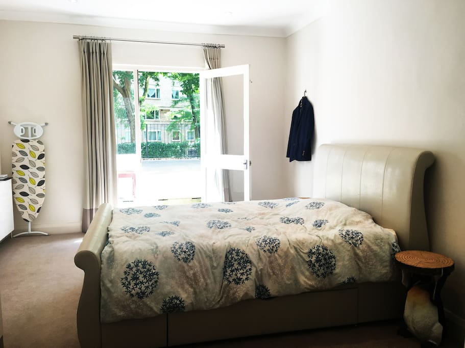 Bright spacious double bedroom with large wardrobe and big terrace. The double bed benefits from a luxury memory foam mattress, pillows.