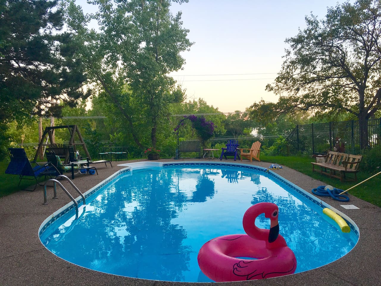 Pool closed for the winter season. In non-summer months, enjoy our large backyard (complete with bonfire pit & view of Cedar lake!)