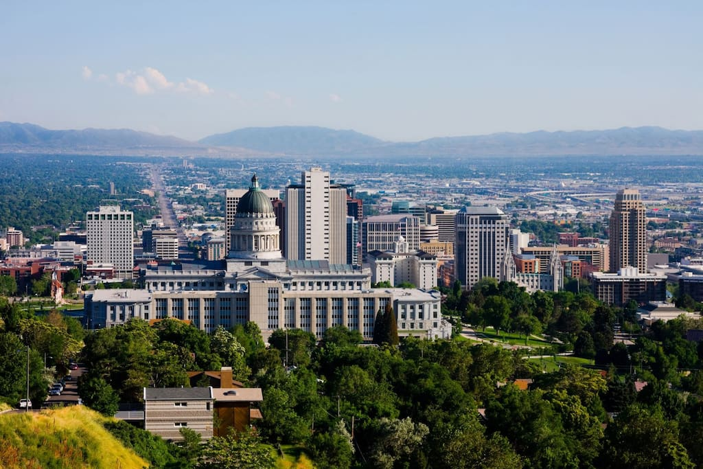 Aerial of Downtown Salt Lake City