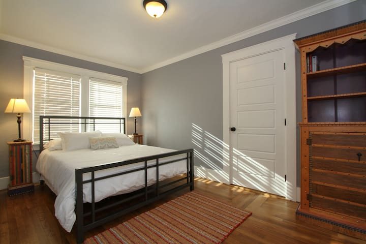 Comfortable queen bed with big closet.