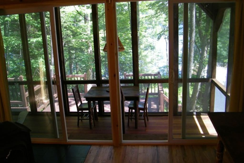 double patio doors leading down to the porch