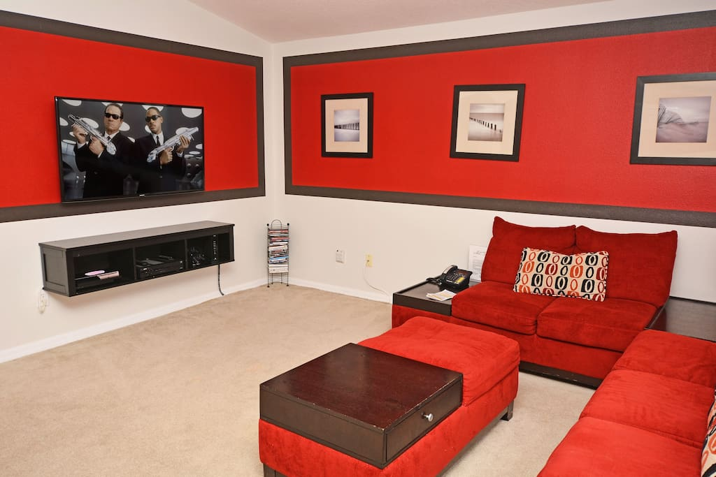 Seating area in games room with gaming console