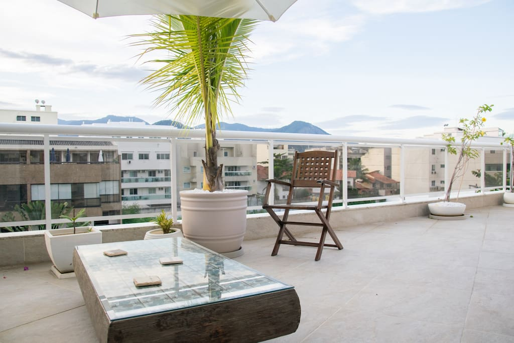 Views of the mountain and sea with spacious balcony  that goes through the whole apartment.