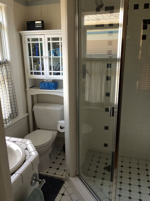 1 bathroom, with shower, sink, toilet