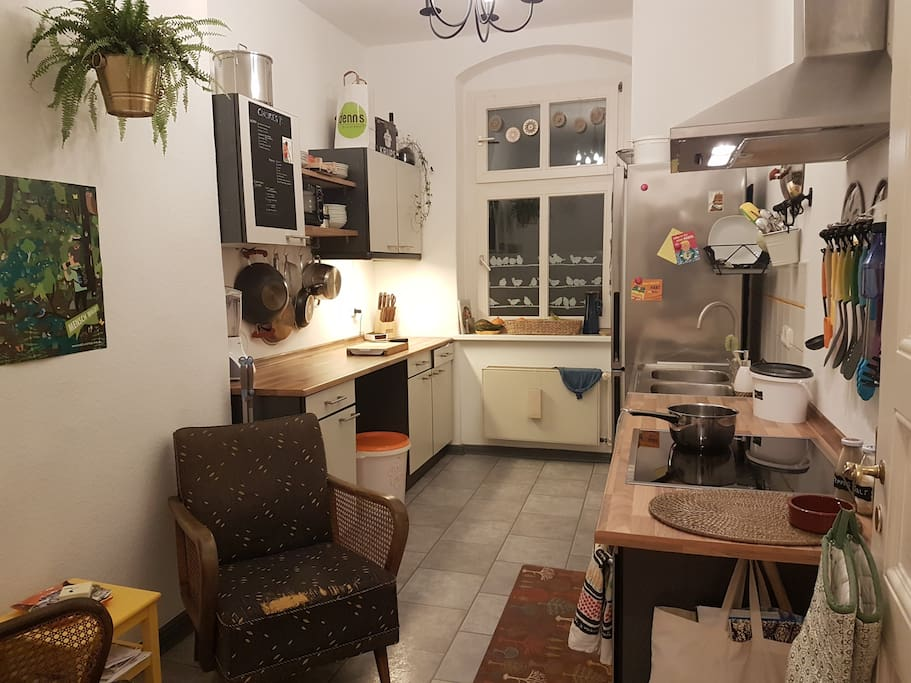 Kitchen with all essentials and more for cooking and baking.