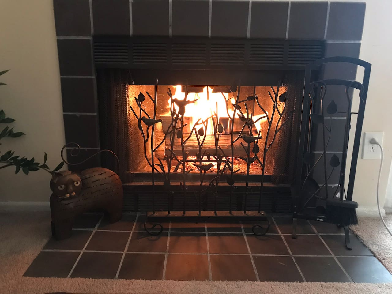 Great real firewood fireplace to cozy up to!