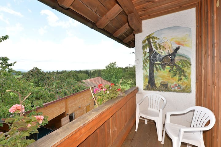 Apartment in the heart of the Bavarian Forest with balcony and a lovely view
