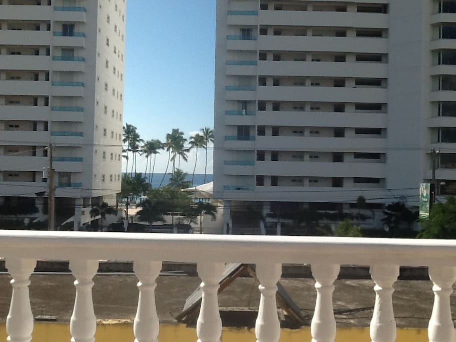 Distance from the balcony to the beach.  Slightly longer walk by the street.