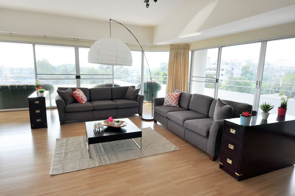 Spacious yet intimate living area to relax with friends and family.
