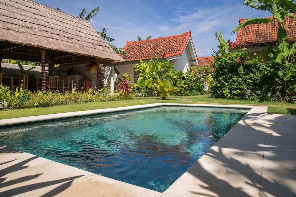 you can see the garden pool and bungalow