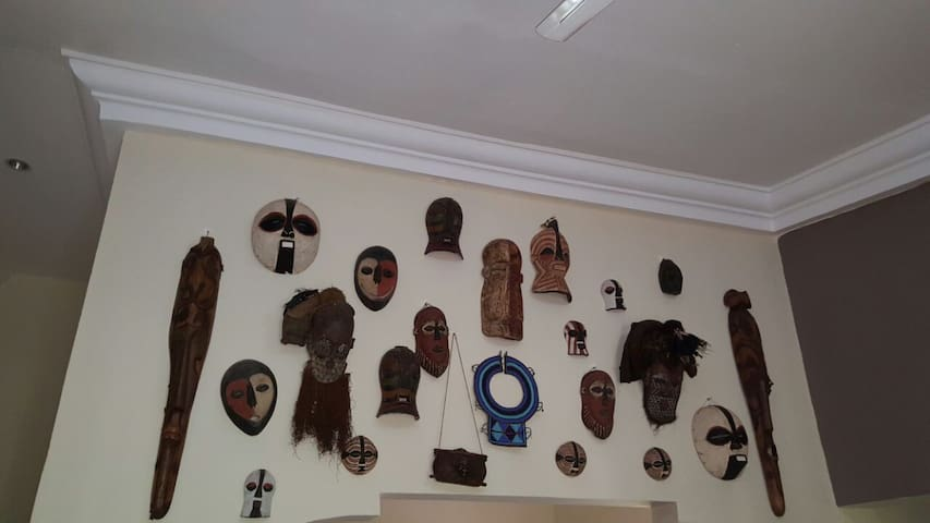 Dining area with mask collection.