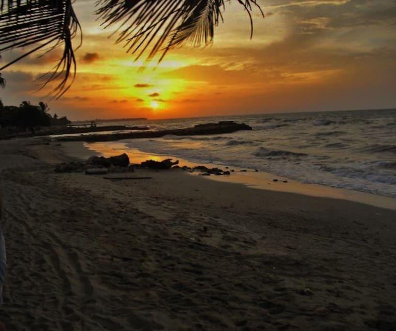 Enjoy beautiful sunsets. Hermosos atardeceres a la orilla del mar