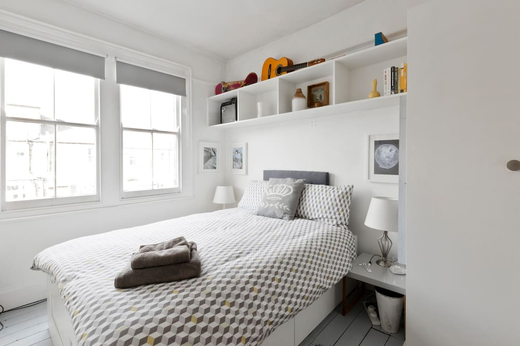 Your bedroom has a full wardrobe with shelves and there is also a luggage rack
