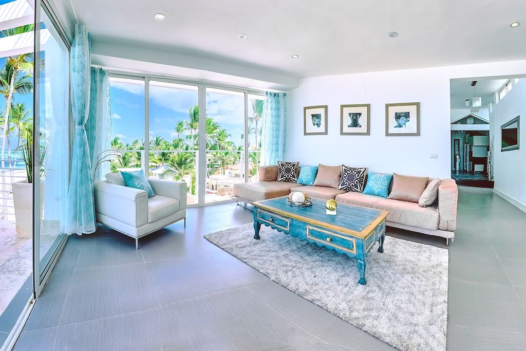 The first view from the window of this luxurious place is a beautiful beach with chaise lounges, perfect sand, and purest water. Here you can totally relax and make the best photos ever.