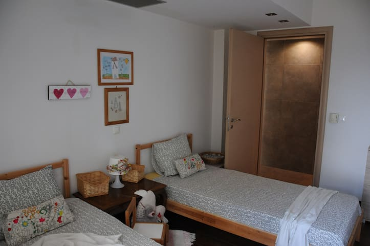 two single beds bedroom