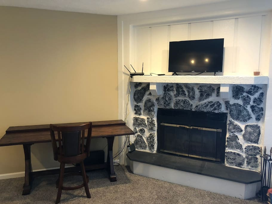 fireplace with table/desk