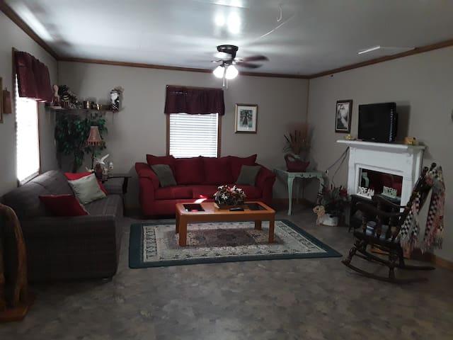 Living room with sleeper sofa and regular sofa and rocking chair