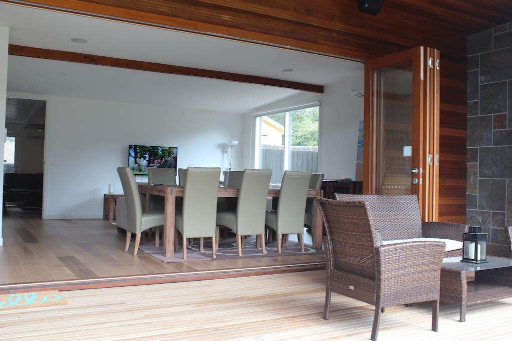 Alfresco deck - bifold doors open to dining and living area