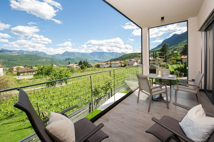 "Modern Apartment ""App. Cabernet"" with Mountain View, Wi-Fi, Garden, Pool, Sauna & Jacuzzi; Parking Available"