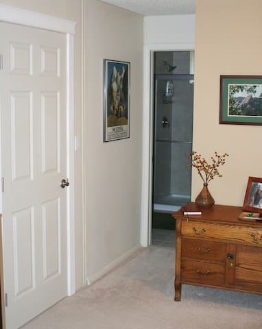 Bath has two entrances - one from bedroom and one from family room