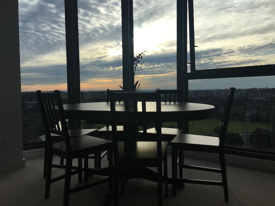 Watching sunset in the living room