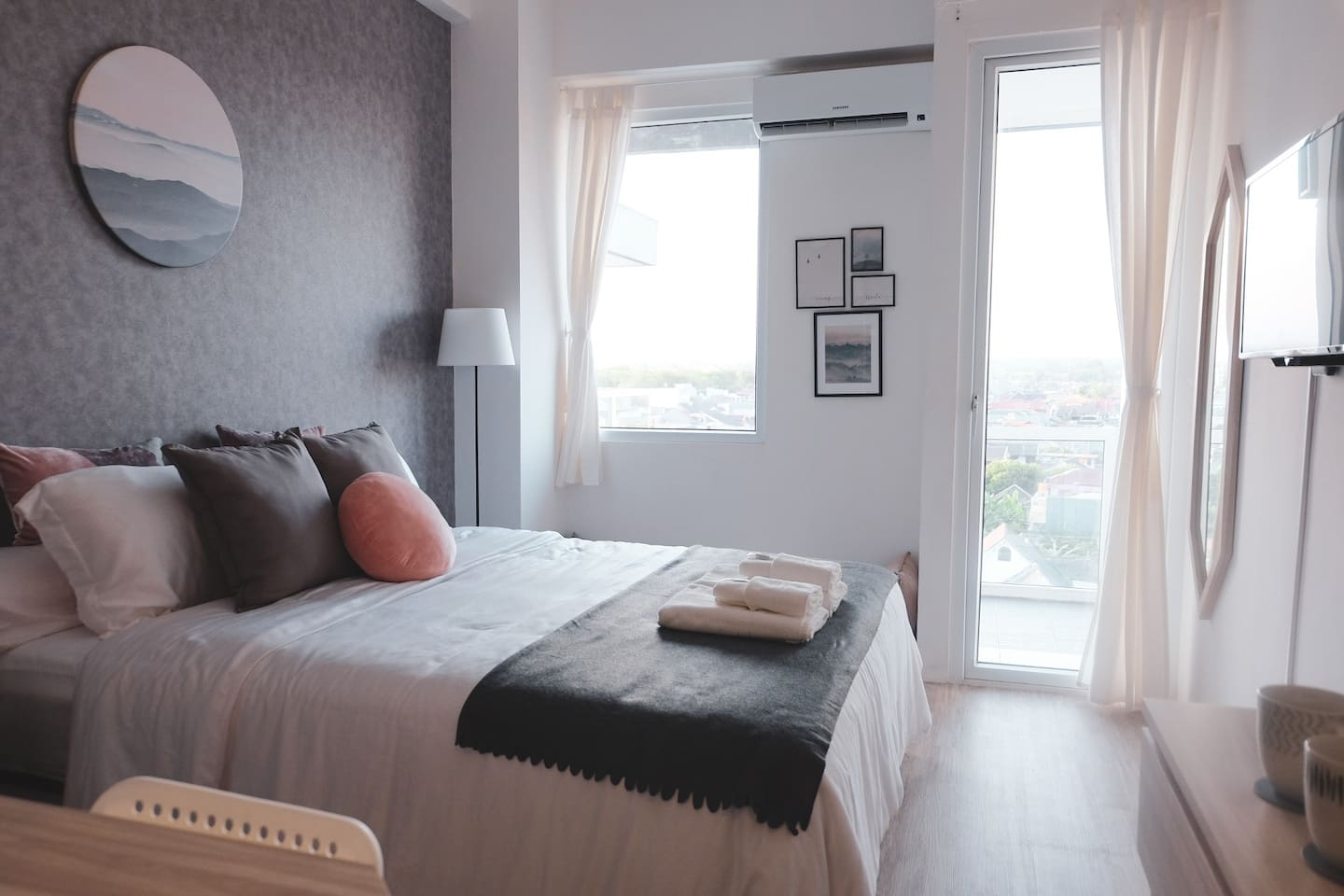 During daytime, natural light brightens the room