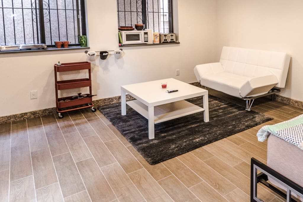 Small relax area with small Kitchenette area.. All the photos that you see are on the same floor and that is the area that you will be using..