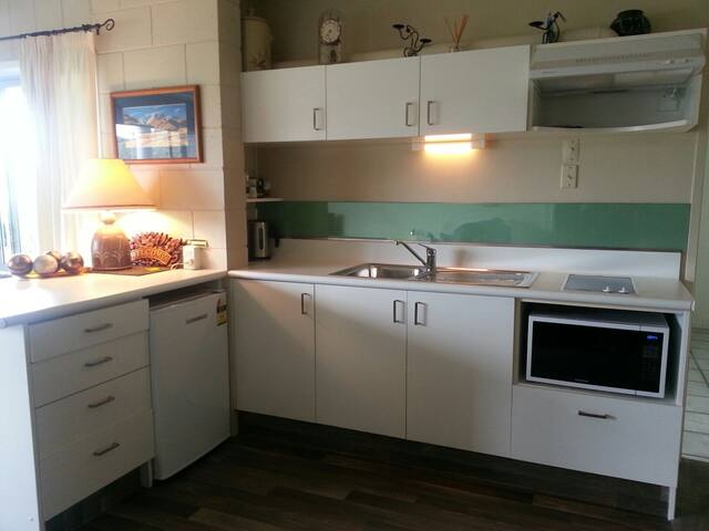 Kitchen with microwave and two ceramic hotplates .