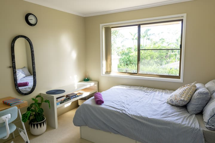 Guest bed room, with double bed and built in wardrobe