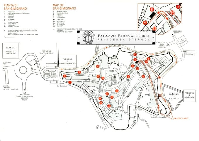 Map for arrive in front door  with the car to leave your luggages. Attention:  look for direction parking 3/4,  to go on and  enter in the area of resident by the little gate medieval San Jacopo, to arrive in top of the street.