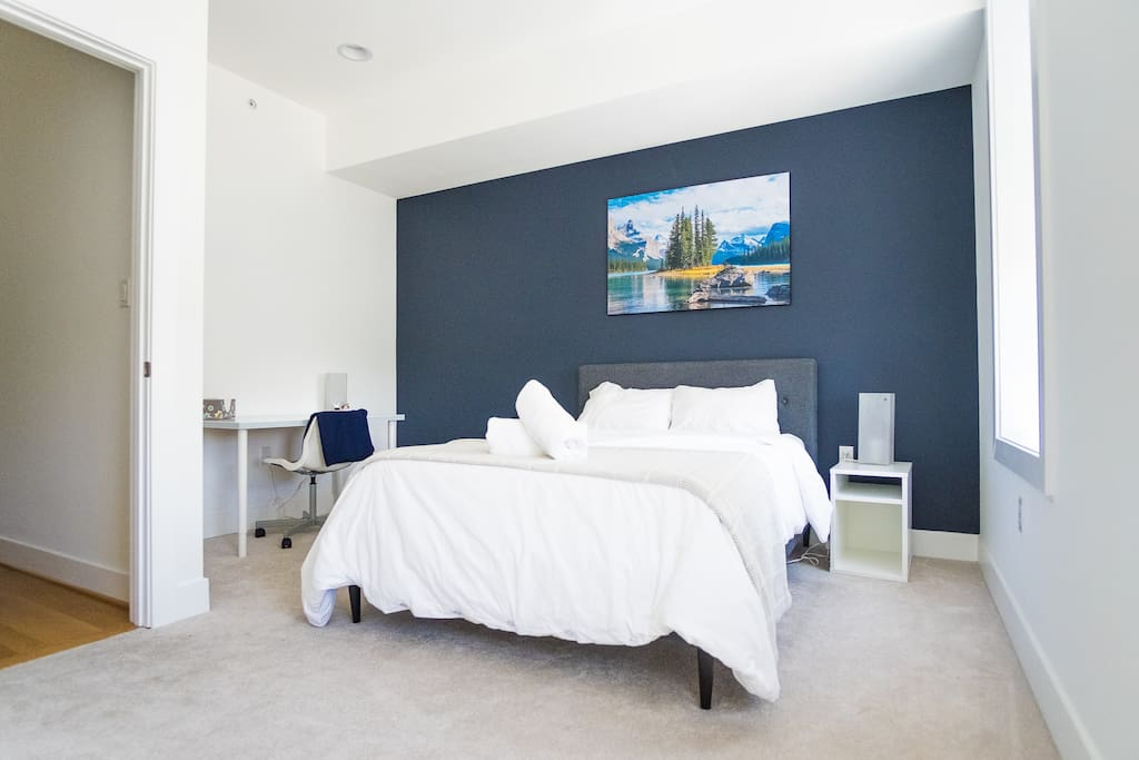 Ample size bedroom on third floor with privacy and quietness separated from other floors and minimal interruptions.