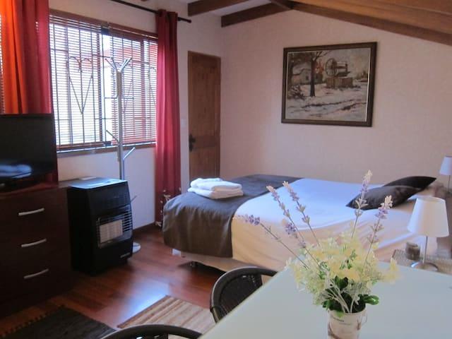 Habitación con cama matrimonial y cama de 1 plaza