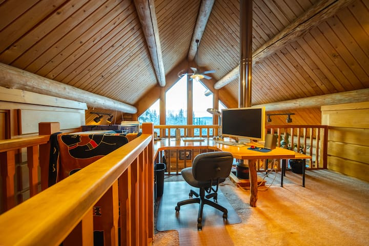 Loft office with a fabulous view of the valley below and the Alaska Range.