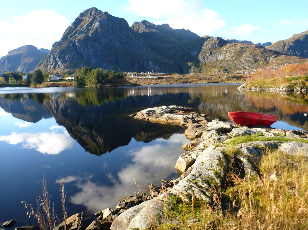 A beautiful lake in Sørvågen, just about a 100 meters away from the house.