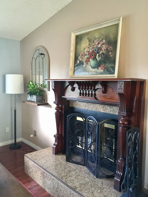 Antique fireplace in living room