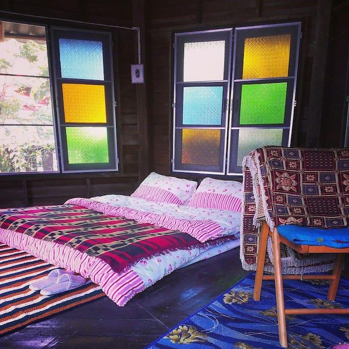 Wooden room, fan, private bathroom, hot shower, mattress, bed sheet, pillows