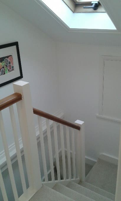 Stairs up to loft - makes it feel nice and private