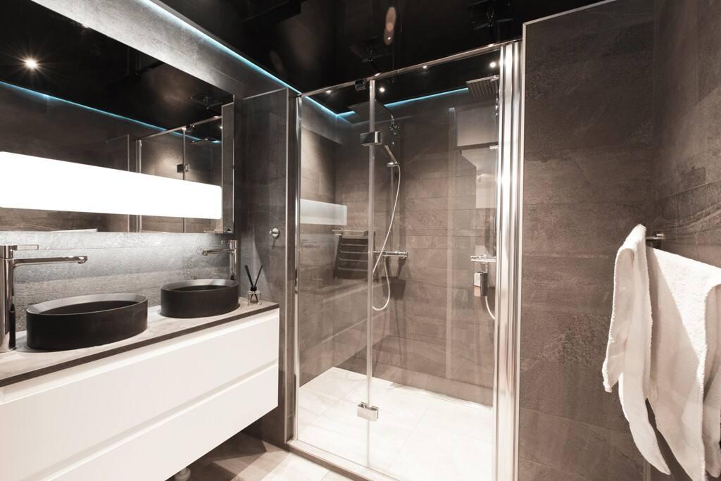 Stylish bathroom with led