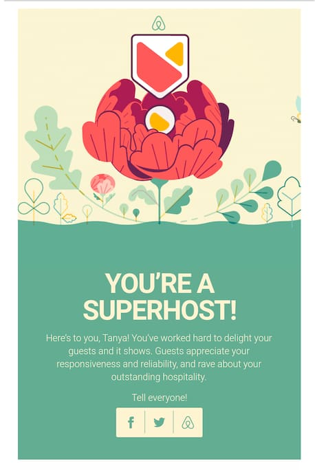 Yay! Superhost award! I love being a host!