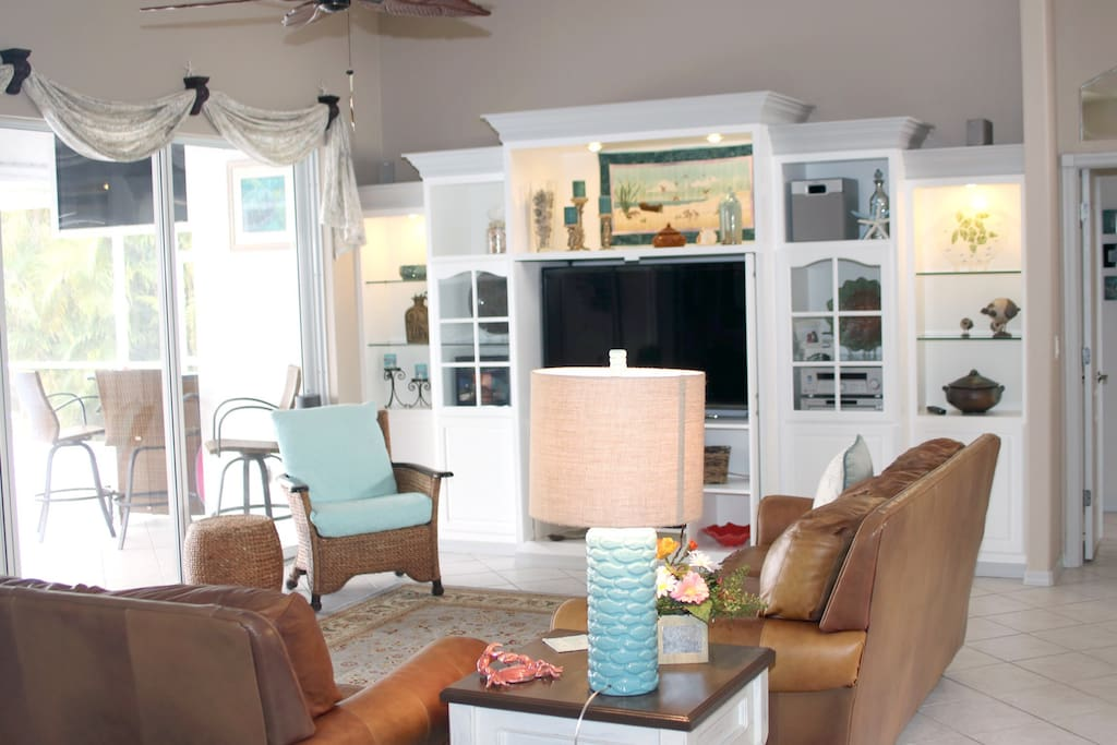 Built in entertainment center in great room.
