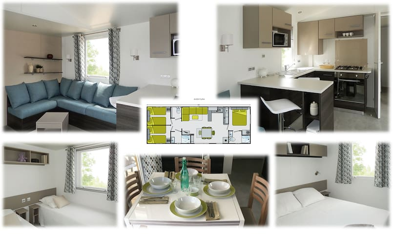 Mobil home 6/8 p. camping 4* tout confort