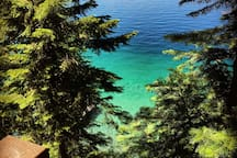 Beautiful, blue, clear Flathead lake, from the deck