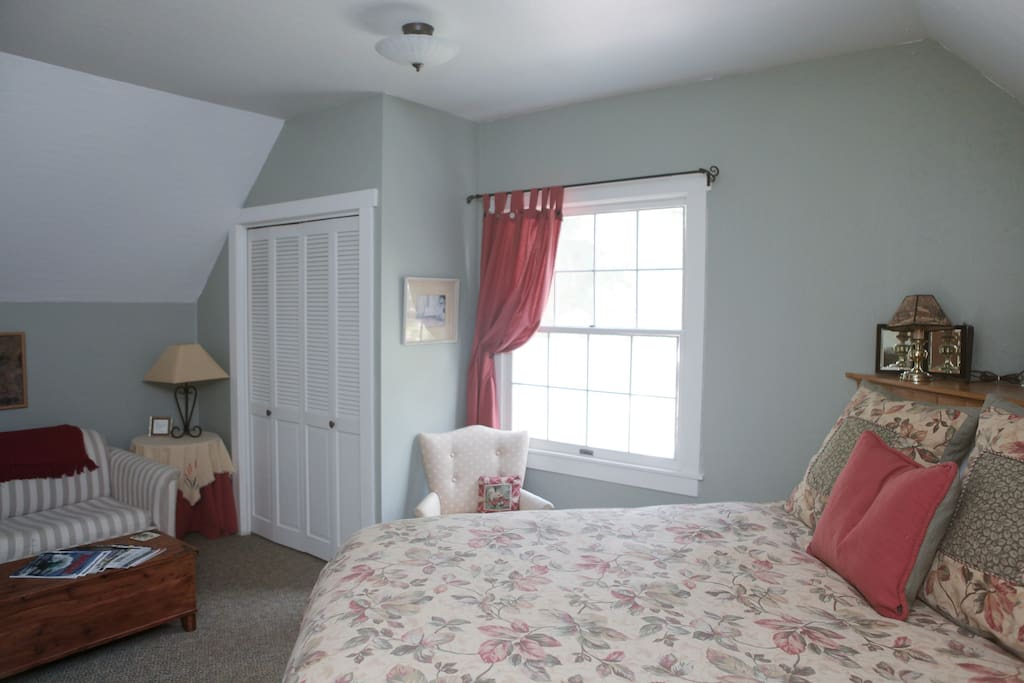 Karin's room upstairs with queen bed and private bath