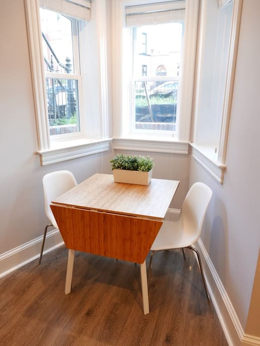 Breakfast nook with bay windows