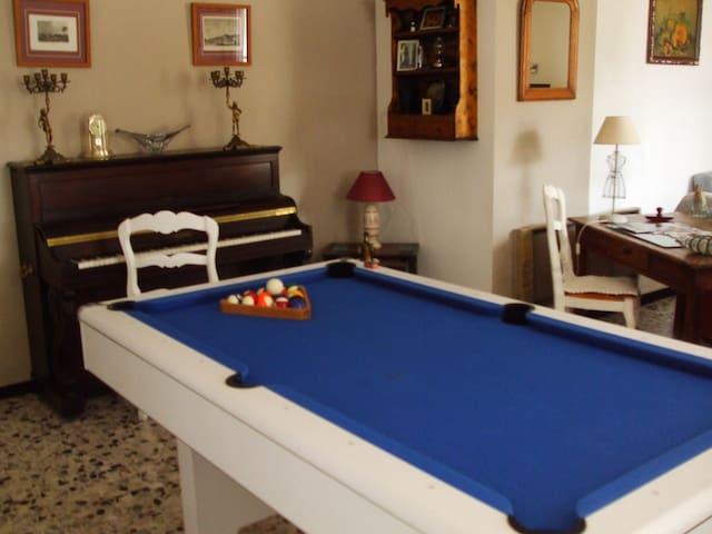 Pool table.